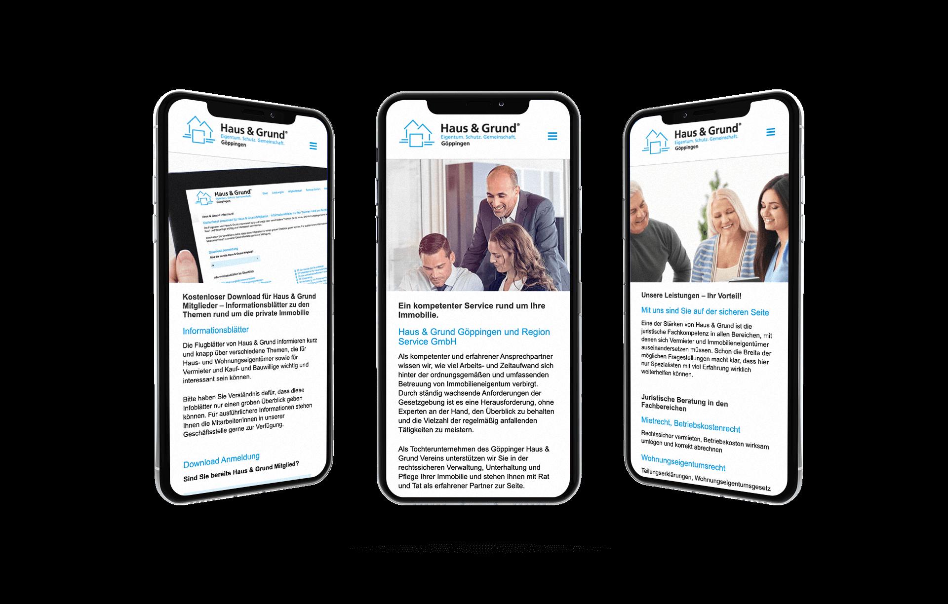 Website von Haus und Grund Göppingen Mobile